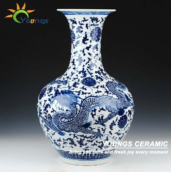Chinese H56cm Ceramic Big Blue White Dragon Vase Big Floor Vase
