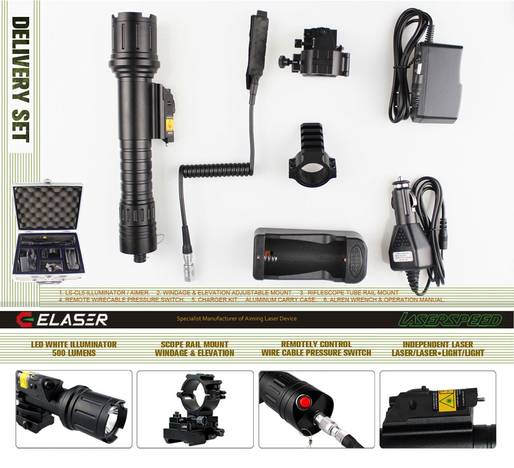 Led Ar 15 Military Tactical Light With Green Laser Sight Combo For ...