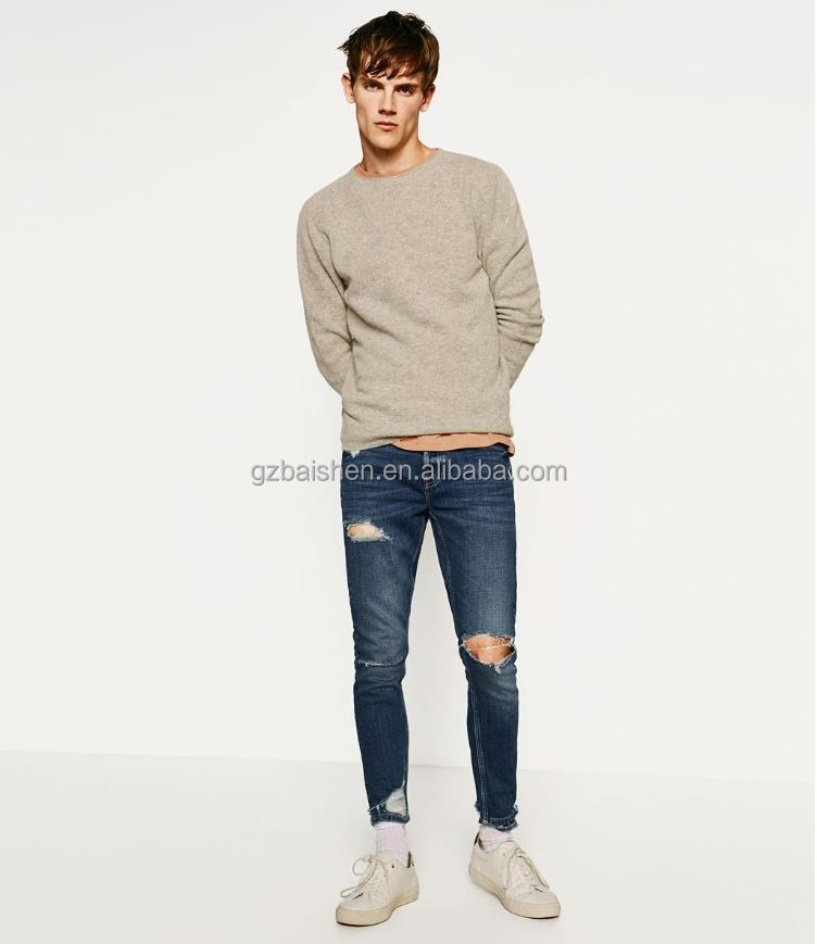 New design custom fashion ripped jeans for men Slim straight fit mens skinny denim jeans