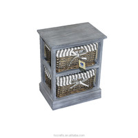 Grey Reclaimed Small Wicker Rattan Basket Wood Storage Box