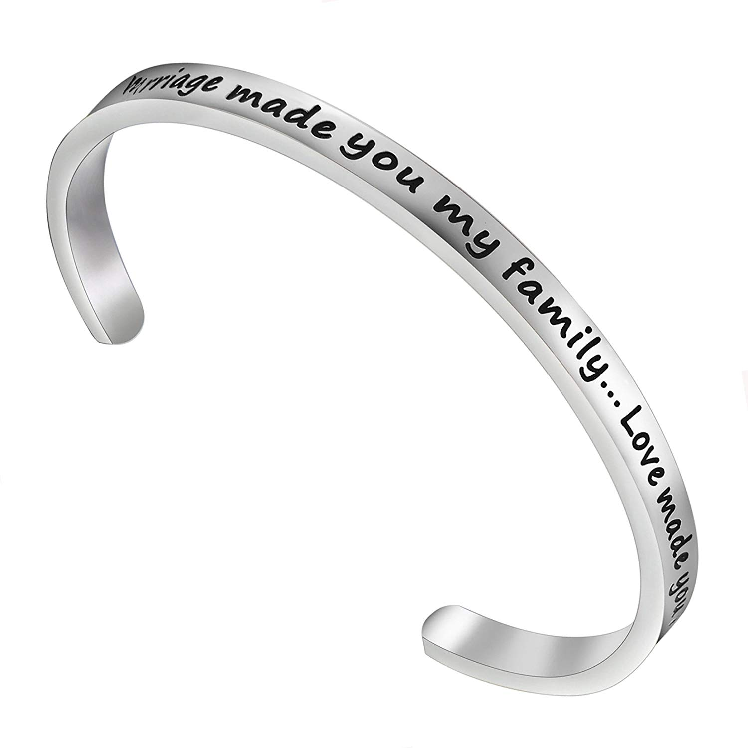RQIER Step Daughter Gift Marriage Made You My Family Love Made You My Daughter Cuff Bracelet Gift for Stepdaughter Foster Adoption Family Jewelry