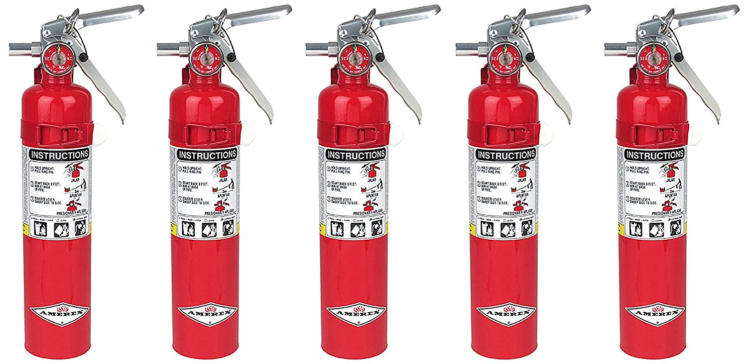 Amerex B417, 2.5lb ABC Dry Chemical Class A B C Fire Extinguisher, with Wall Bracket (5, 5.25 pounds)