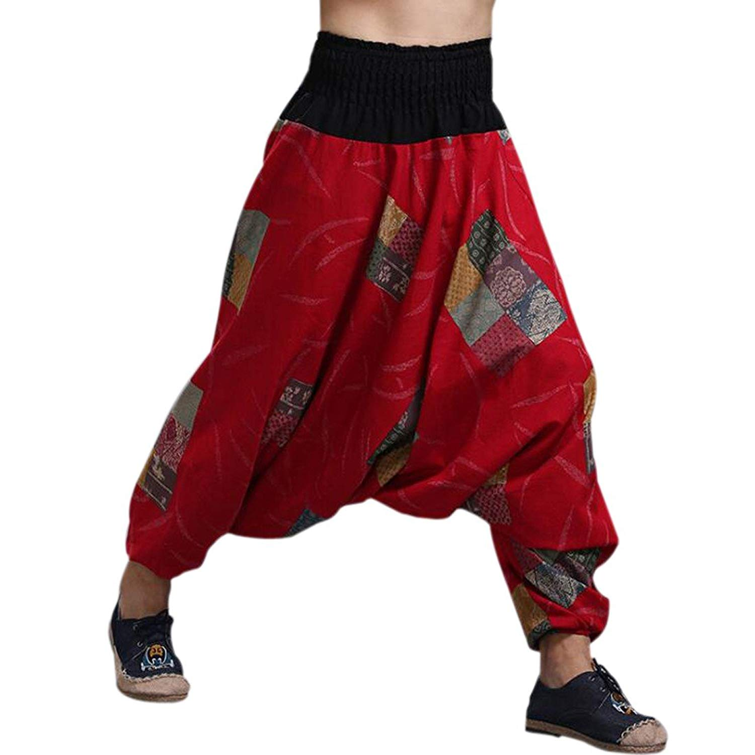 155fe96b44 Get Quotations · Mens Womens Boho Hippie Baggy Cotton Harem Pants with  Pockets Workout Yoga Pants