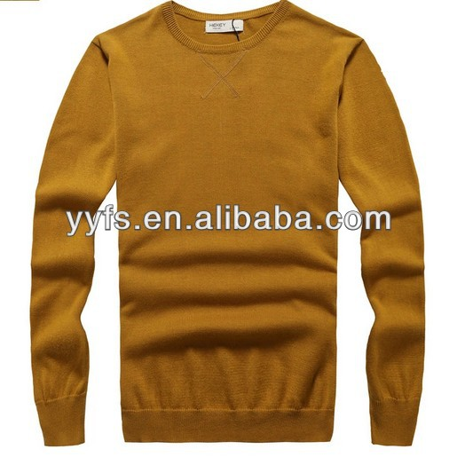 The Dark Yellow Long Sleeve Knitting Pullover Casual Men Knitted ...