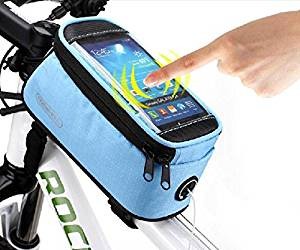 """Roswheel® Waterproof 4.2"""" 4.8"""" 5.5"""" Bike Bicycle Cycling Frame Pannier Front Tube Bag Saddle Bag Touchscreen Cell Phone Case Bag Phone Holder GPS Bag with Headphone Jack Reflective Strips for Safe Night Riding Suitable for iPhone Samsung HTC Nokia and other Smartphones (Blue, S( 4.2 inch))"""