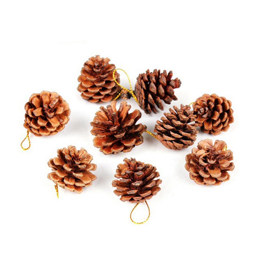 9pcs Christmas Tree Hanging Balls Pine Cones Pinecone Xmas New Year Holiday Party Decoration Ornament For Home Parties Supplies