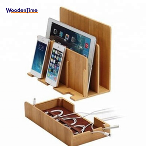 Universal 4-Port USB Mobile Phone / PAD Multi Device docking Bamboo Wooden Valet Charging Station