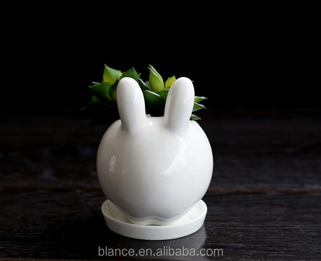 Mini Ceramic White Rabbit Bonsai Pot Bunny Planter With Saucer