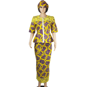 8754a5b7 Half sleeve African wax print women dress two pieces clothing styles for  woman D181109