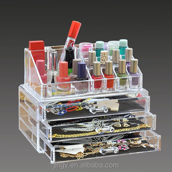 best price blank acrylic three drawers makeup cosmetic storage box
