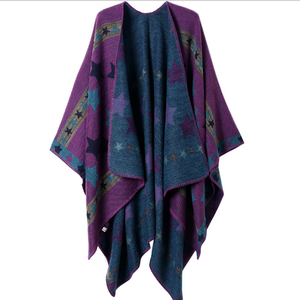 star printed wool women shawl