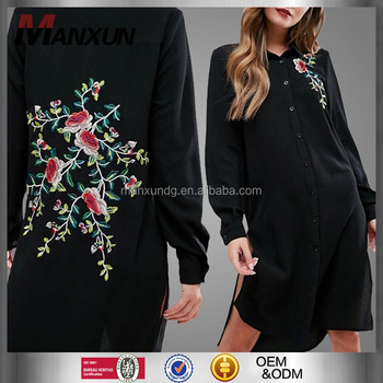 5e708661b76 2017 Women Apparel New Look Embroidered Back Shirt Dress Black Slit Long T-shirt  Dress