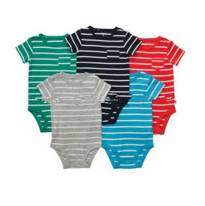 Baby Boy Clothes 5 Bodysuits Striped Blue Gray 3 6 9 12 18 24 Months