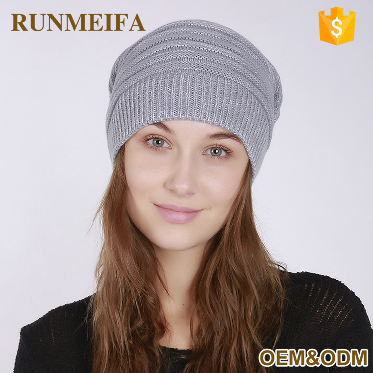 Wholesale Cheap Custom Slouchy Acrylic Cashmere Woman's Winter Hats