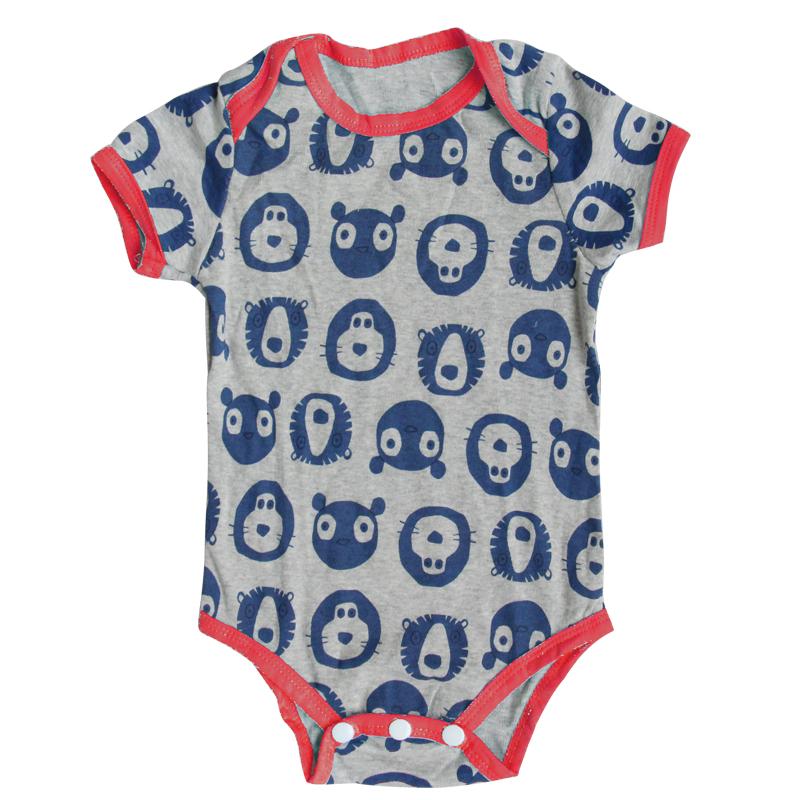 Клиренс 100% хлопок мультфильм с коротким рукавом девочка мальчик трико новорожденный треугольник восхождение одежды для детей 17 цвета стиль