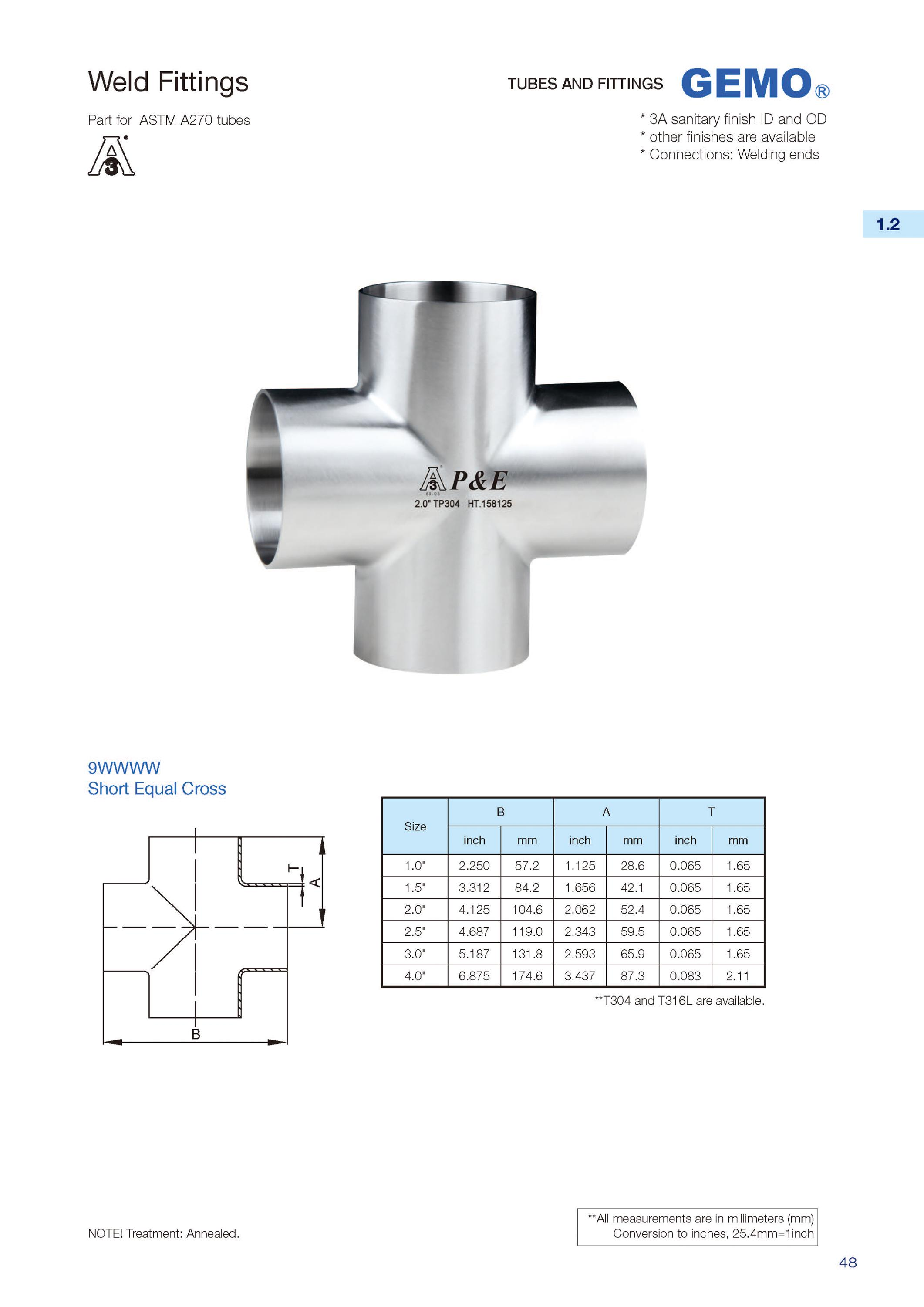 9WWWW Sanitary Stainless Steel Weld Short Equal Cross