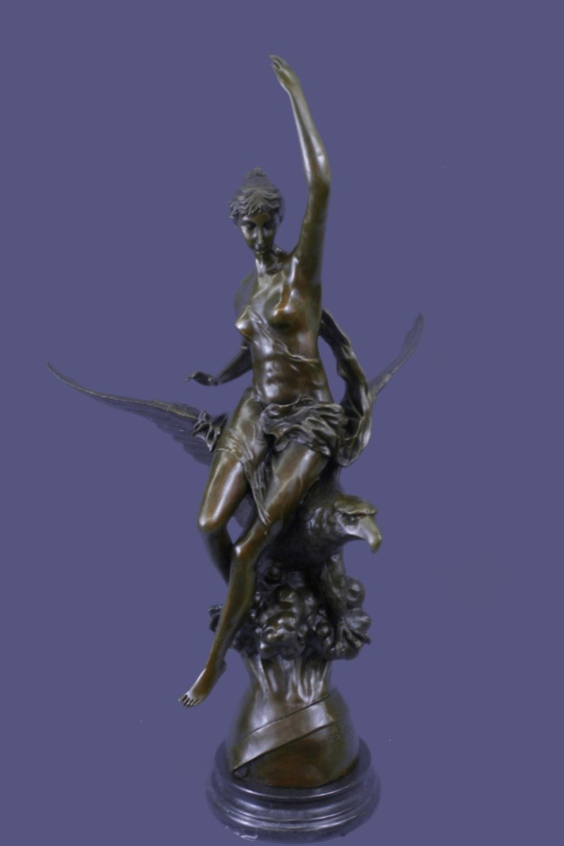 ...Handmade...European Bronze Sculpture Signed Picault Nude Girl Riding Eagle Hot Cast Mythical(1X-DS-208)Statues Figurine Figurines Nude Office & Home Décor Collectibles Deal Gifts