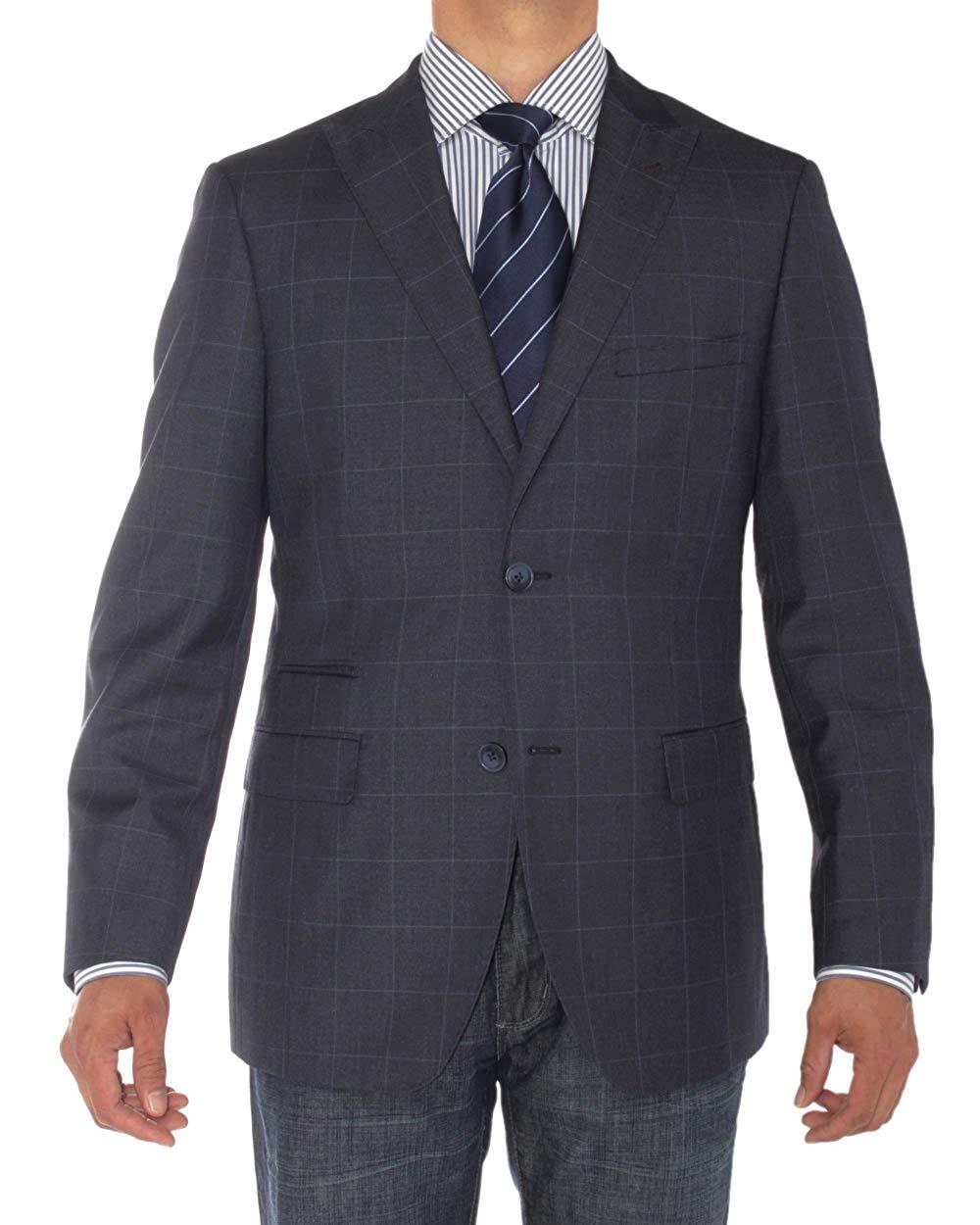07ec1fd8c26e85 Get Quotations · LN LUCIANO NATAZZI Mens Two Button Ticket Pocket Blazer  Modern Fit Suit Jacket