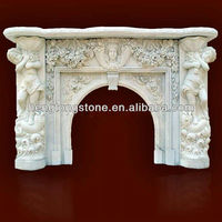 Classic White Marble Fireplace Mantel With Figure Design