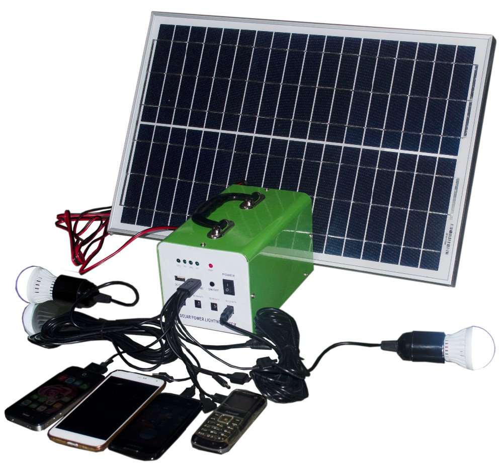 New Product renewable energy dc 10W 7A solar lighting&charging system mini solar light kits