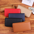 Saffiano Pattern PU Leather Women Solid Long Single Zip Around Wallet