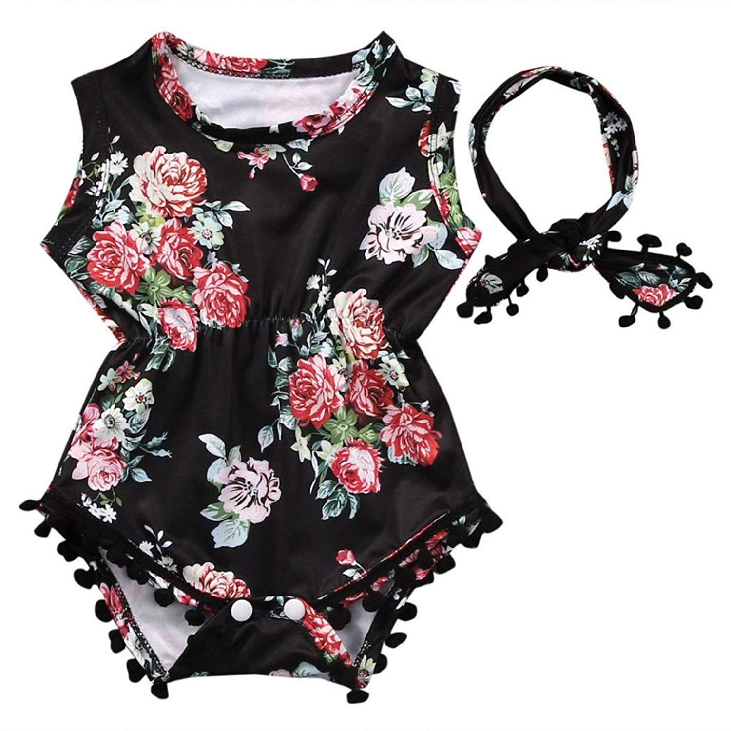 Newborn Infant Toddler Baby Girls Floral Sleeveless Romper Jumpsuit Sunsuit Clothes Set 0-2 Years