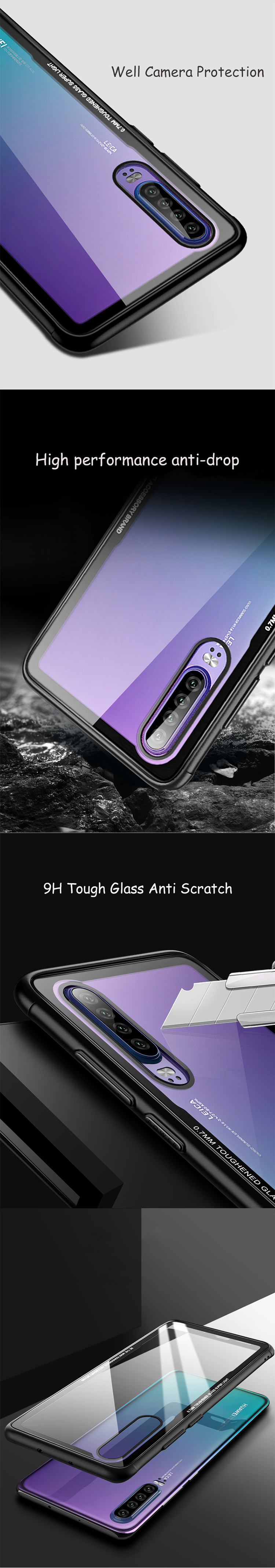 Feisman Waterproof Hard Shockproof Tempered Glass Phone Cover for Huawei Phone Case P30 Pro P20 Glass