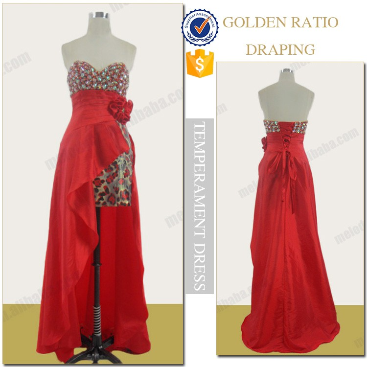 Red sweetheart leopard stone cocktail wear elegant evening gowns image