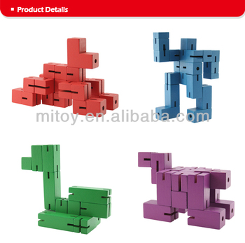 Wooden Cube Puzzle Twisting Robot Made From Wooden Cubes And Elastic Buy Wooden Cube Puzzle Twisting Robotwooden Cube Puzzle Twisting Robot