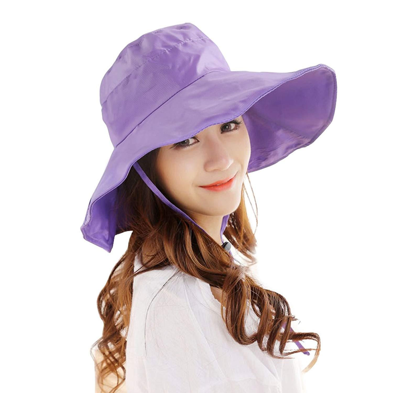 bb8585e39db Get Quotations · Women's Rain Hats Waterproof Rain Hat Wide Brim Bucket Hat  Rain Cap Sun Hats