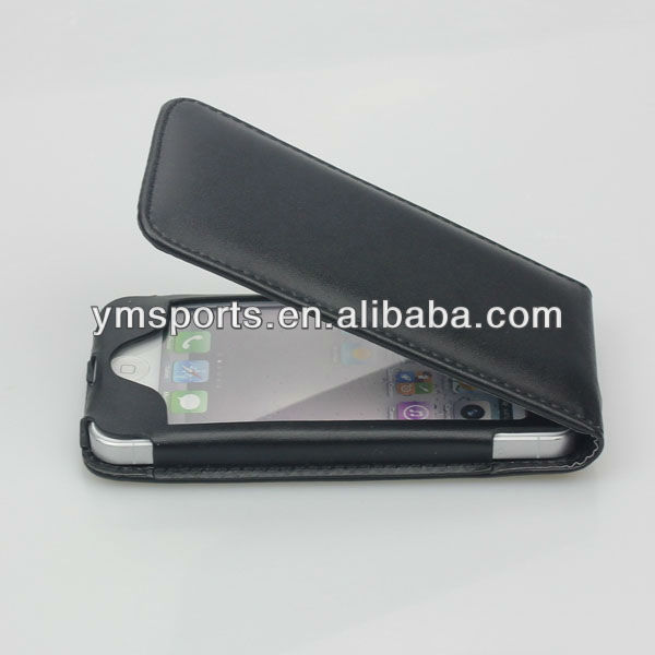 New design luxury black leather phone case for iphone 5/4s