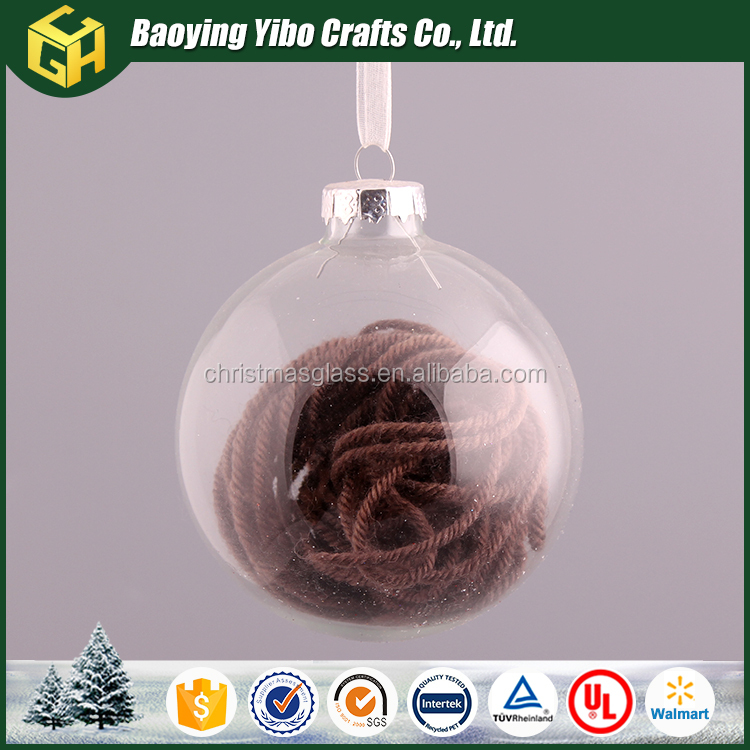 2016 Clear glass christmas bubble ball ornaments