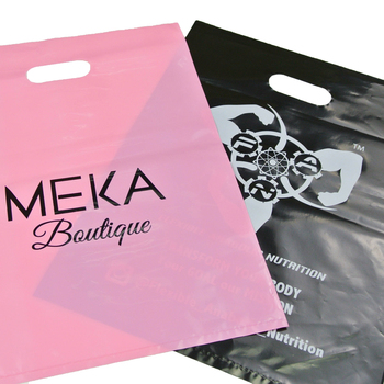 personalized retail plastic bags with die cut handles