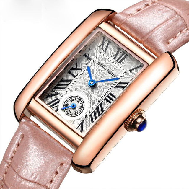 2016 New Watch Women Fashion Leather Bracelet Quartz Watches Rectangle Model Clock With Blue Pointer For Ladies