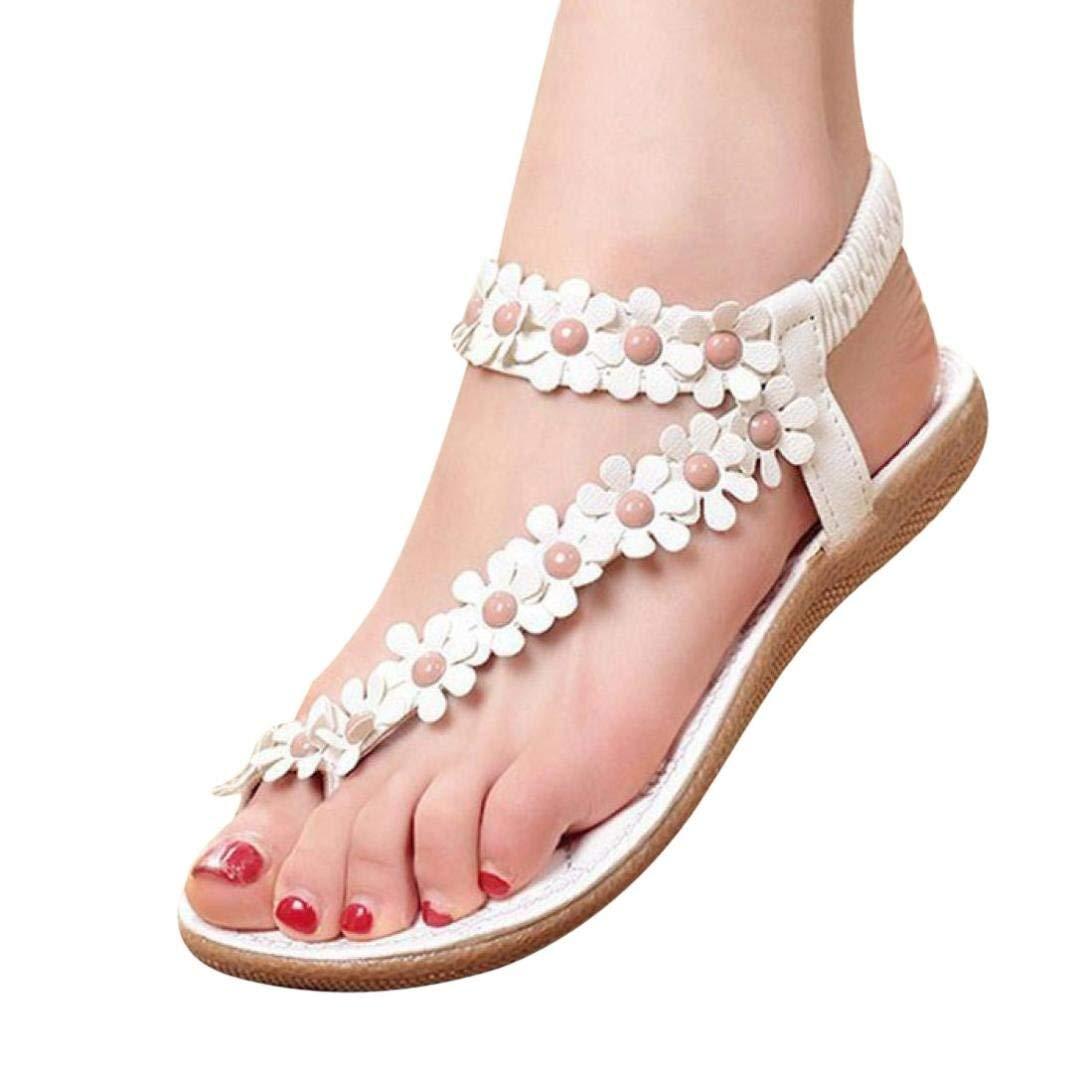 Women Sandals,Duseedik Clearance!!Summer T-Strap Flip Flops Flower Beaded Elastic Slip on Flat Sandals Bohemia Beaded Flat Shoes for Dress Beach (White, US:8(CN:39))