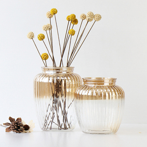 Wholesale Simple Style Gold And Clear Pumpkin Shaped Glass Vase For Flower Arrangement