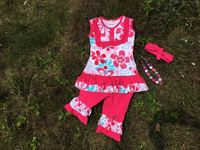 2015 new design boutique kids clothing girls flower ruffle outfit hot pink capri set with matching headband and necklace