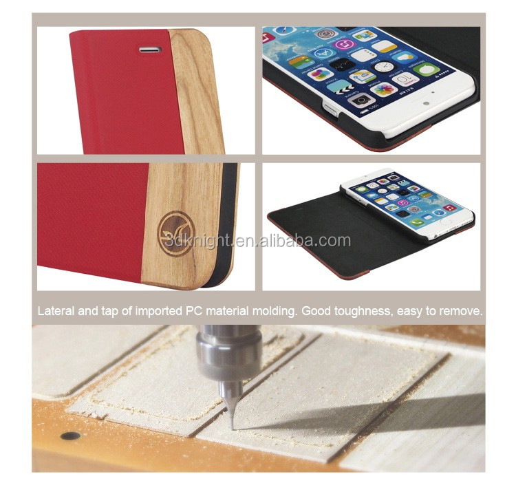 Laser Engraving Mobile Phone Accessaries Fashion Red Leather Flip Case for iPhone 6 Cherry Wood, Flip Stand Cover for iPhone 6s