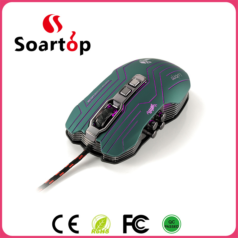 LED LUOM G5 3200DPI Optical 9D USB Vibration Wired Gaming Mouse With 9 keys for LOL/CF/WOW
