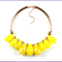 Best Online Neon Yellow Green Stone Statement Necklace For Young Women