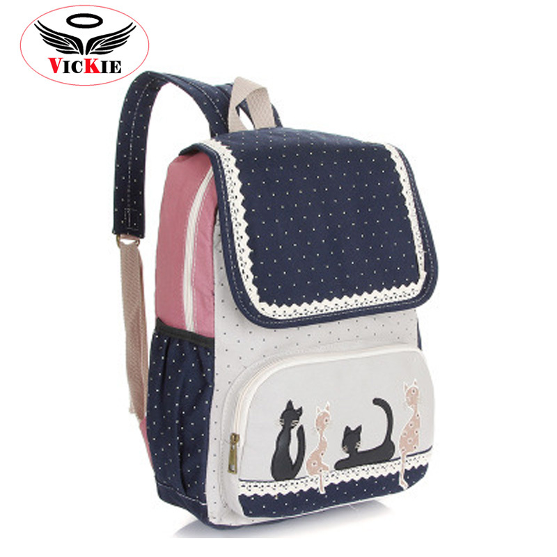 Women Canvas Backpacks Korean Lace Backpacks Animal Prints Backpack Lady Daily Backpack Student Dot School Bag Hot Mochilas BD21
