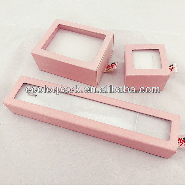 pink paper jewelry box set delicate classic design jewelry box