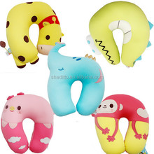 Polytyrene food grade micro beads filling spandex outcover cartoon animal u neck rest children student journey travel pillow