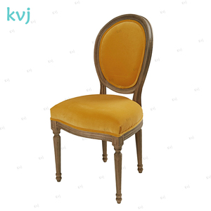 KVJ-7809 french saffron yellow wood fabric round back louis chair