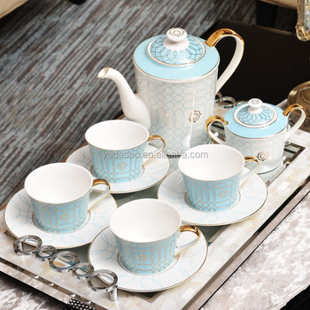 Ceramic blue color drinkware 15pcs coffee and tea cup sets