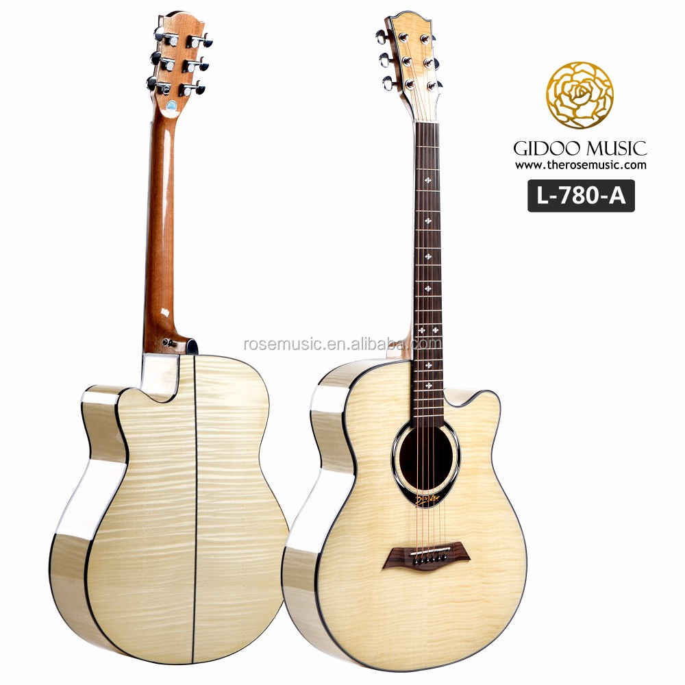 40 inch wholesale full tiger stripe maple high quality acoustic guitar made in China guitar factory L780A