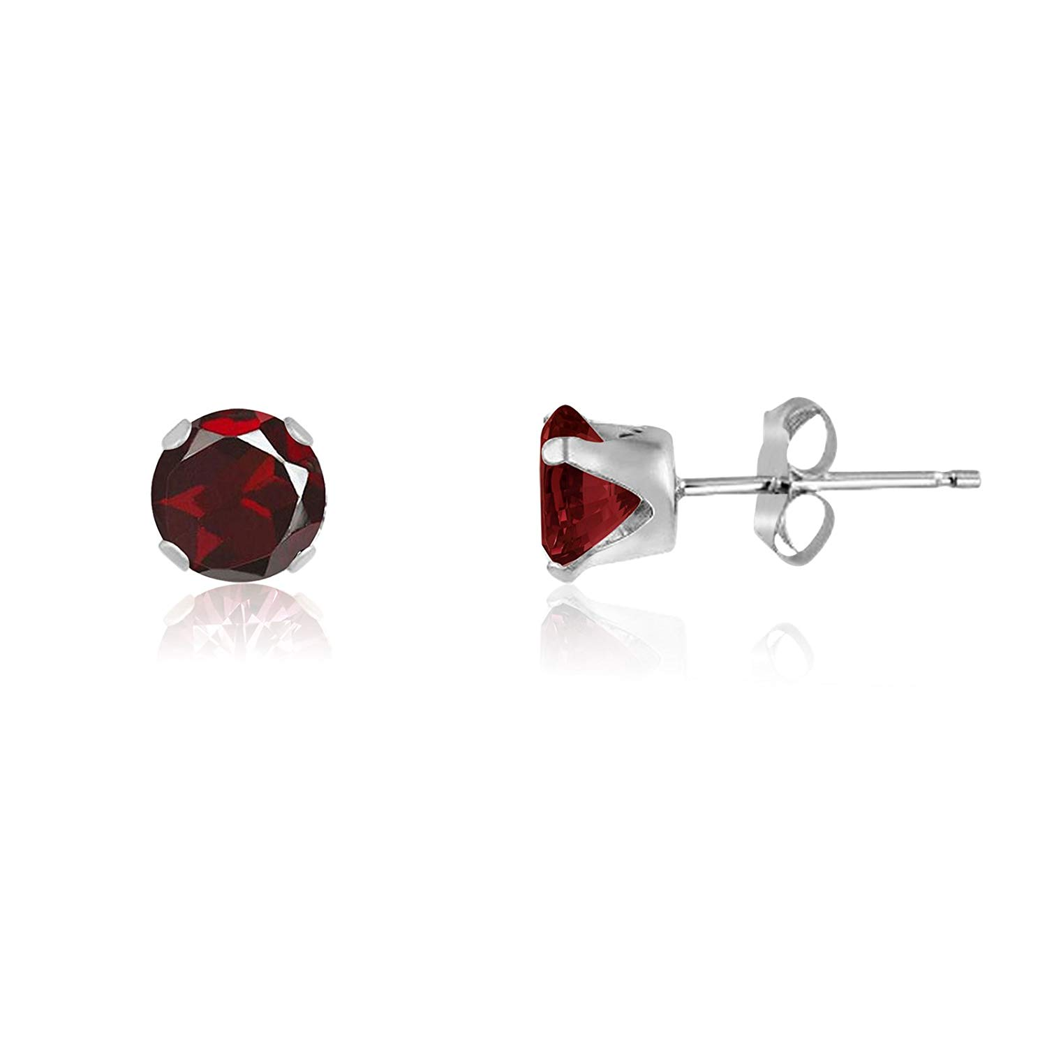 Get Quotations Round 4mm Genuine Red Garnet Stud Earrings 0 6 Cttw Sterling Silver 14k Yellow