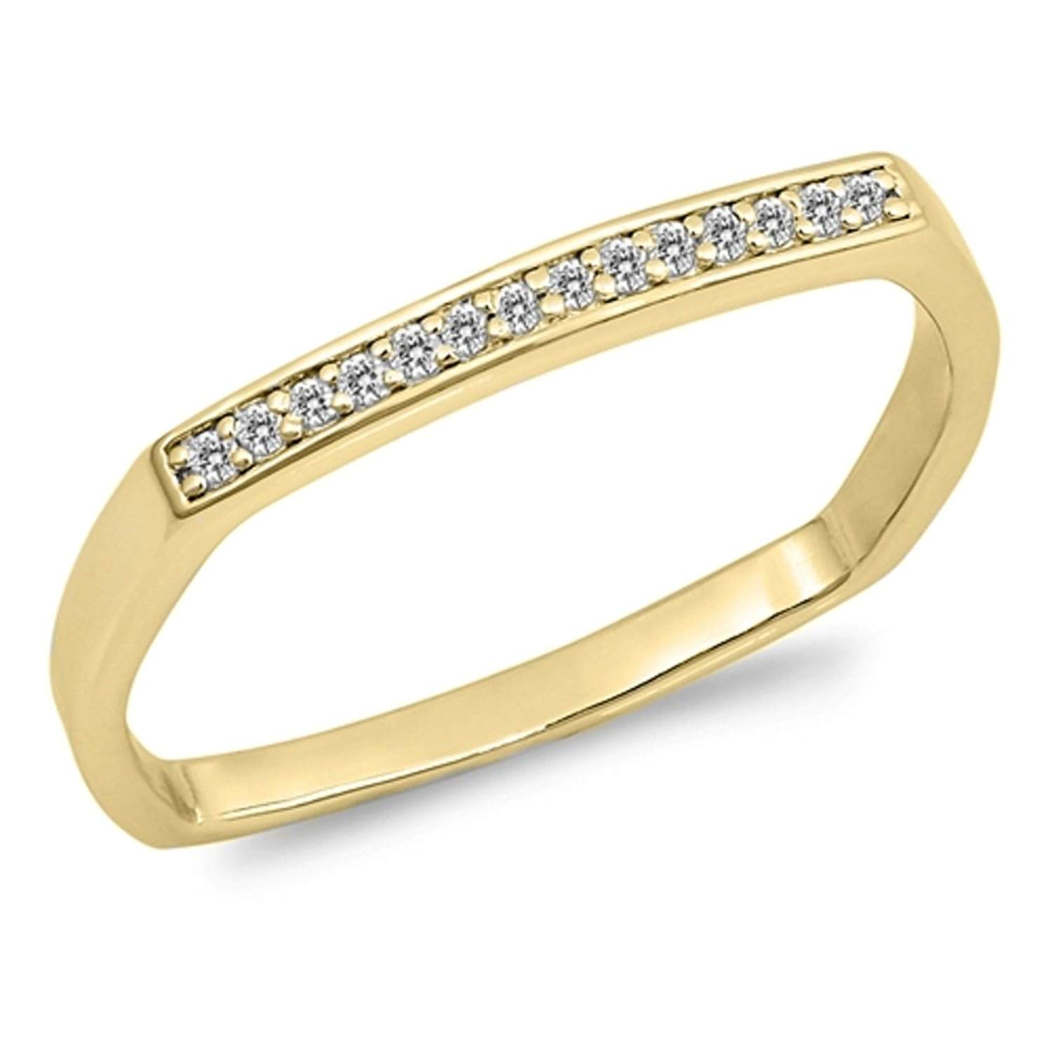 Clear Cubic Zirconia Single Row Stackable Ring Yellow Gold-Tone Plated 925 Sterling Silver