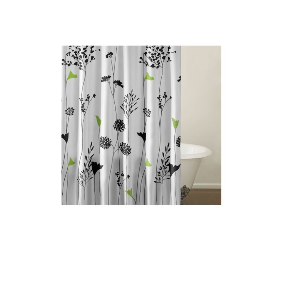 1 Piece Girls Pretty Asian Lilly Shower Curtain, Beautiful Floral Bathroom Pattern, Black Green White Flower Chic Girly Neutral Tall Stems Asia Themed Style Prints, Cotton