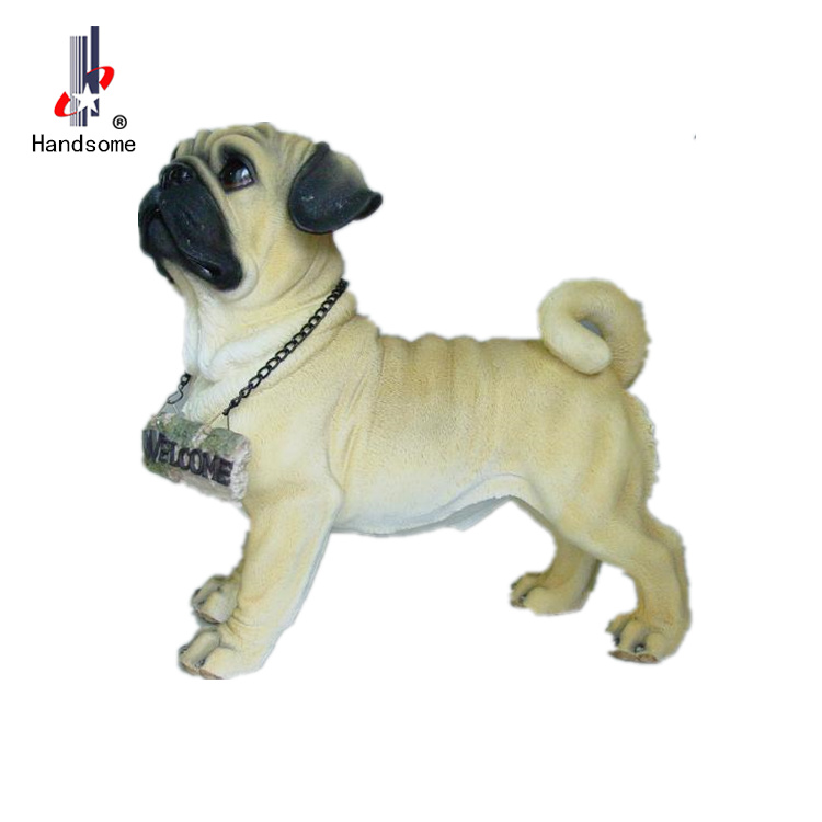 15 Inch Resin Dog Statue For Garden Decoration Pug Figurine